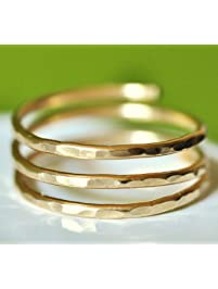 Adjustable hammered wire wrap coil ring (MEDIUM size), thumb ring, pregnancy ring - 14k gold filled