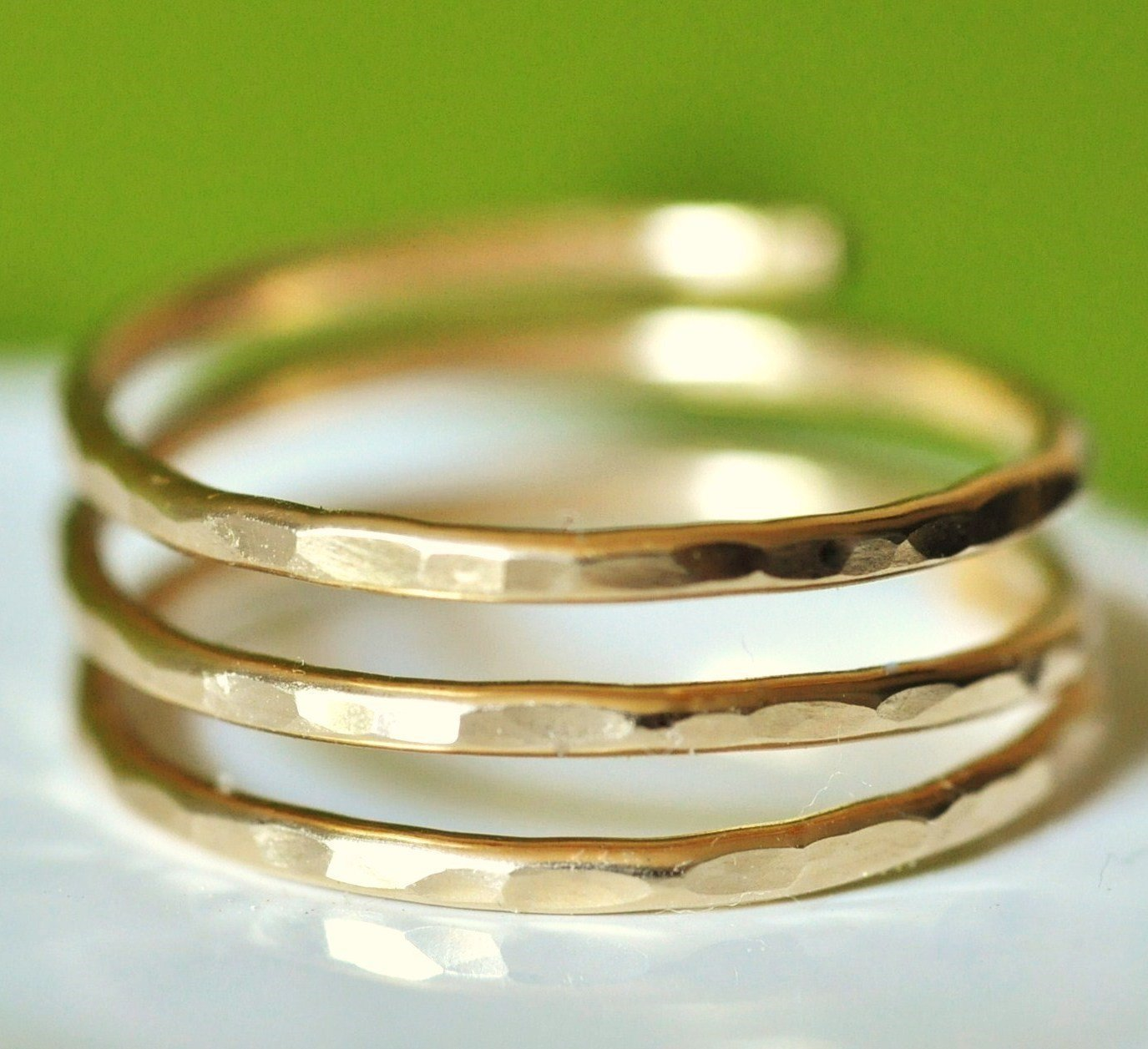 Adjustable hammered wire wrap coil ring, thumb ring, pregnancy ring - 14k gold filled