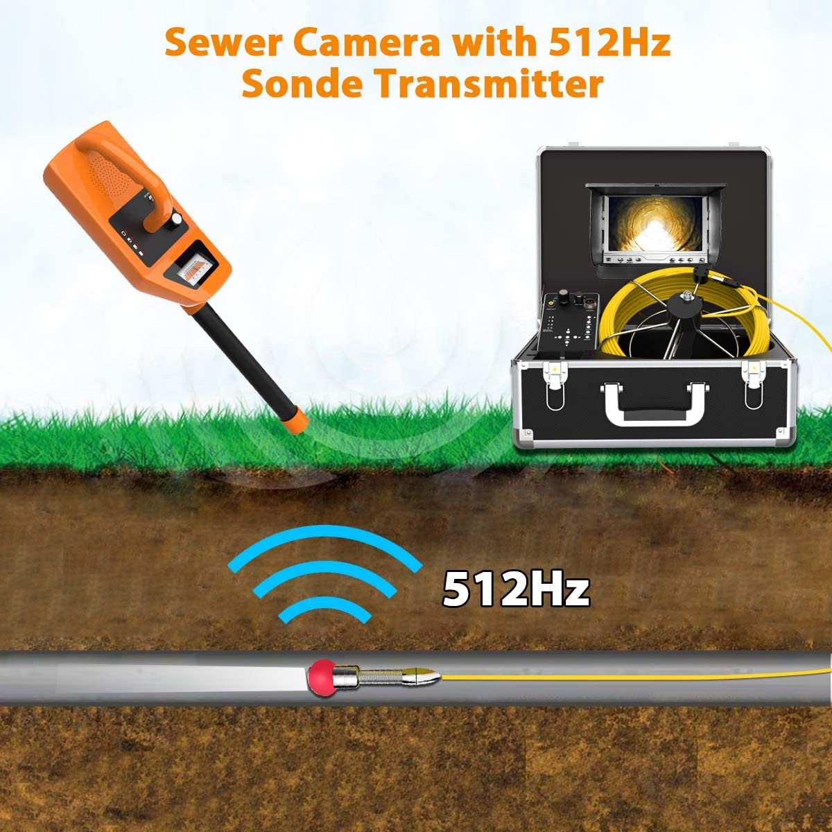 """512Hz Transmitter Sonde for Pipe Location Endoscope Camera 7/""""LCD DVR Screen Plumbing Borescope Inspection Camera IP68 Waterproof Drain Snake 100FT Cable Include 512Hz Receiver Sewer Camera"""