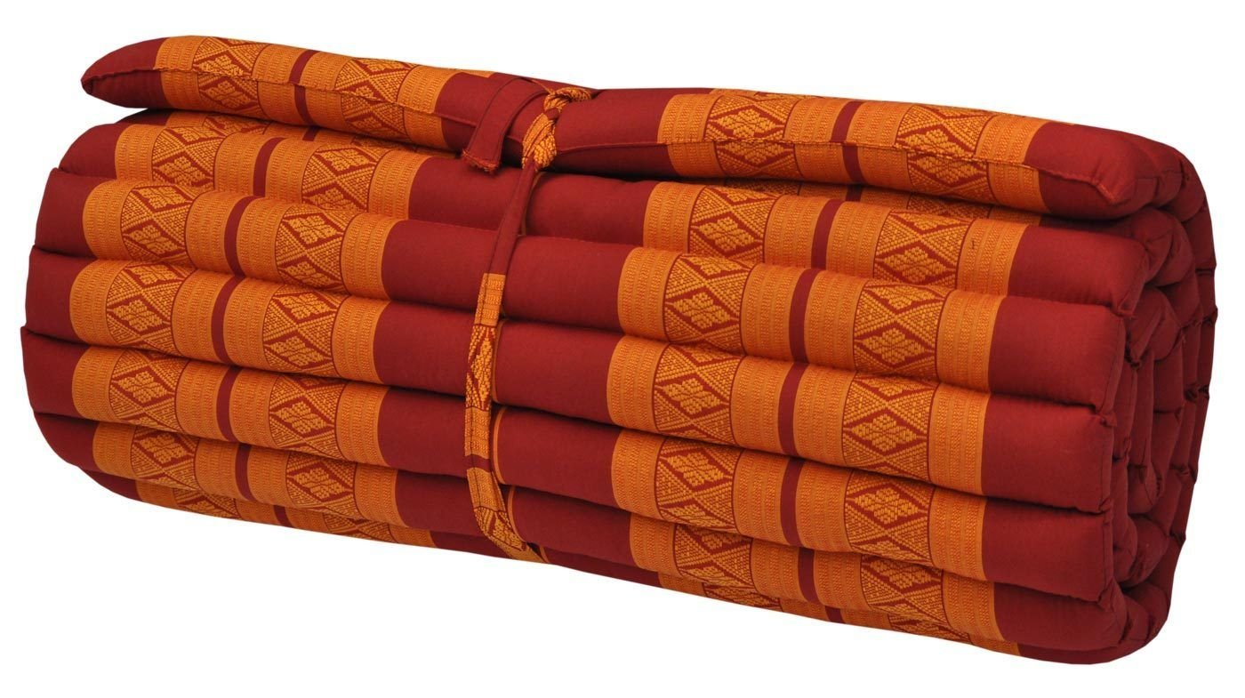 Noinoi@roll up Thai Mattress Kapok (Large, Orange-Red) by NOINOI
