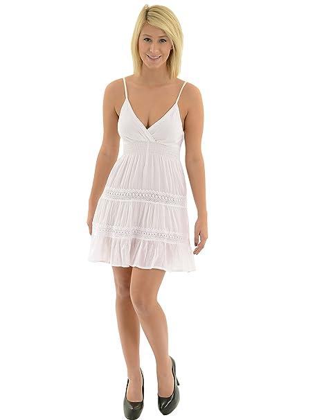 3a51b4ec96 Juniors Summer Mini Dress White Cotton Spaghetti Strap Tunic Top Lace Trim  Sizes  Large
