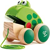 Hape Frog Pull-Along | Wooden Frog Fly Eating Pull Toddler Toy, Green, L: 4.7, W: 3.8, H: 3.3 inch