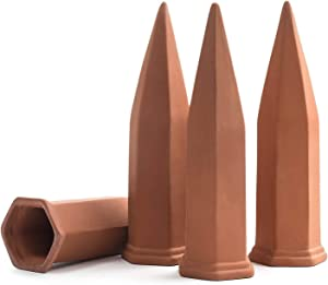 Plant Self-Watering Stakes for Indoor Outdoor Plants (4 Count) Terracotta Plant Watering Spikes for Recycled Wine Bottles to Water Plant at Home or on Vacation - Automatic Irrigation System for Plants