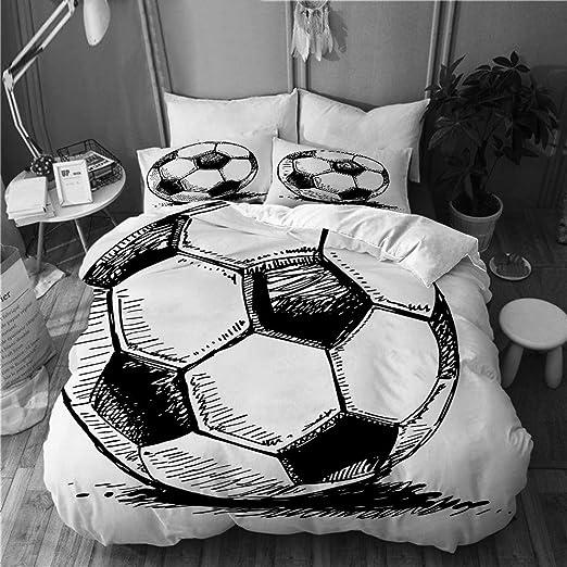 PENGTU Bedding Juego de Funda de Edredón,Blue Sketch Fútbol Balón ...