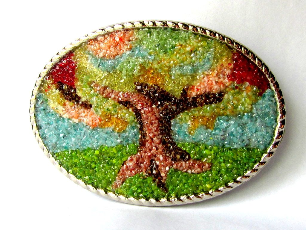 Large Oval Stained Glass Tree of Life Belt Buckle, Antipasto