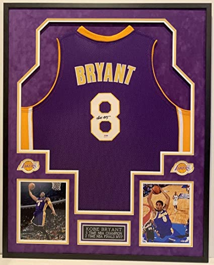 db09d75967ac Kobe Bryant  8 L.A. Lakers 5X Nba Champion Autographed Signed Framed Jersey  Memorabilia PSA