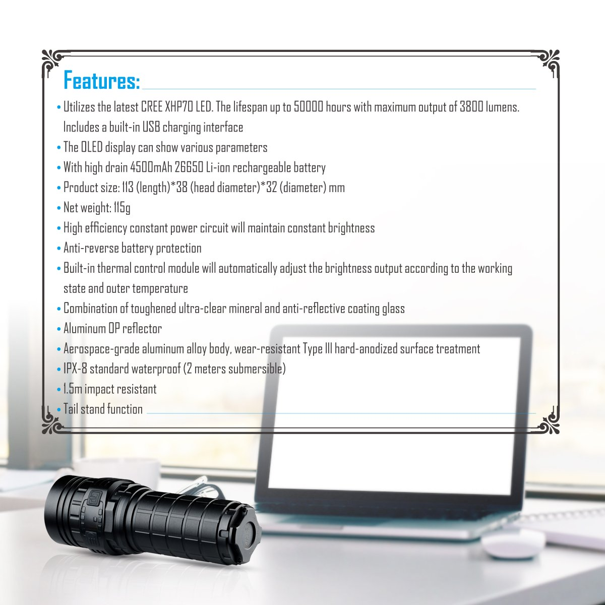 Imalent new DN70 USB rechargeable palm-sized LED flashlight 3800lumens searching light portable floody flashlight with CREE XHP70 LED by IMALENT (Image #7)