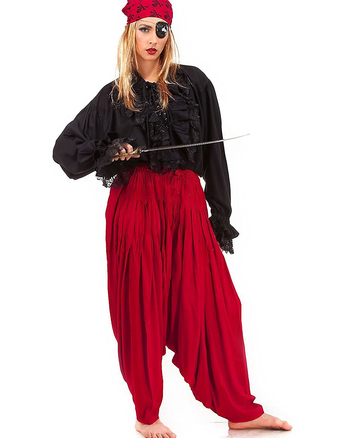 Medieval Renaissance Women Pirate's Red Patiala Costume Pants - DeluxeAdultCostumes.com