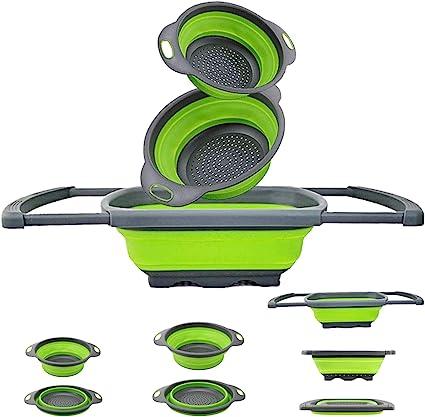Image of EigPluy Colador plegable para cocina sobre el fregadero Colador de cocina con asas extensibles, colador plegable de 6 cuartos para drenar frutas, pastas y verduras (3 paquetes)