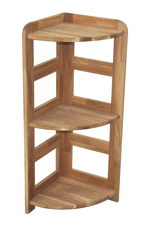 Echtholzprofi Praktisches Regal Beethoven, 90x33x33cm,Eckregal, Echtholz Eiche geölt, für Wohnzimmer, Büro oder Kinderzimmer