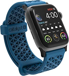 Sport Band for Apple Watch 38mm 40mm, Hypoallergenic, Breathable Wristband, Soft Silicone Replacement Bands, Sport Band for iWatch Series 1,2,3,4,5 by Catalyst - Blueridge/Sunset