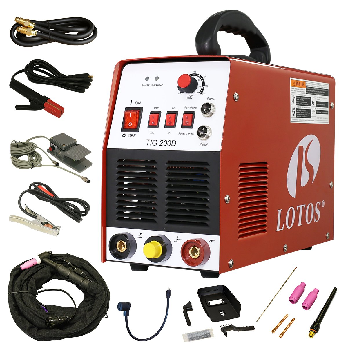 Lotos TIG/ Stick TIG200-DC Welder 200Amp with pedal inverter Power Welding for stainless steel, carbon, copper and other metal by Lotos Technology (Image #1)