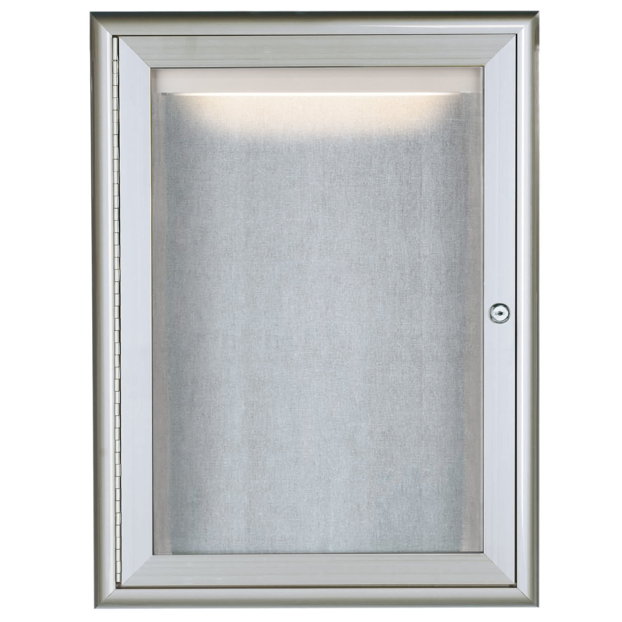 TableTop King LOWFC2418 24'' x 18'' Silver Enclosed Aluminum Indoor / Outdoor Bulletin Board with Waterfall Style Frame and LED Lighting