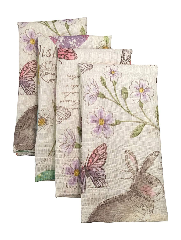 Newbridge Easter Wishes and Blossoms Print Fabric Napkins