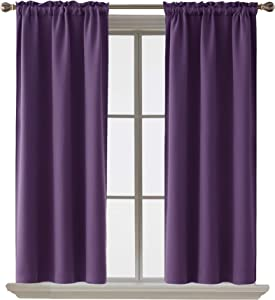 Deconovo Blackout Curtain Room Darkening ThermaInsulated Curtains Rod Pocket WindoCurtain for Bedroom Purple Grape 38 x 54 Inch 2 Panels