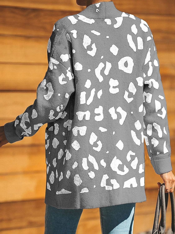 Ru Sweet Women Leopard Cardigan Long Open Front Sweaters Loose Knit Coat Draped Jumper with Pockets