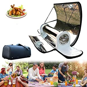 YNNG BBQ Grill Solar, 4.5L Solar Cooker Stainless Steel Stove Oven Smoke Free Food Grade, 550°F Foldable Outdoor Camp Travel Grill