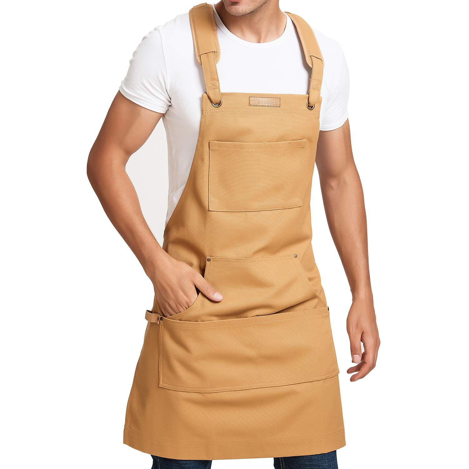 Mens Utility Apron Heavy Duty Tool Apron Durable Water Resistant Waxed Apron with Multifunctional Pockets and Adjustable Cross-Back Straps, Ideal for Carpenters, Woodworkers, Barbecue, Woodshop