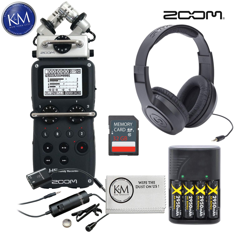 Zoom H5 Digital Recorder + 32GB SD Card + Headphones + Lavalier Microphone + K&M Micro Cloth