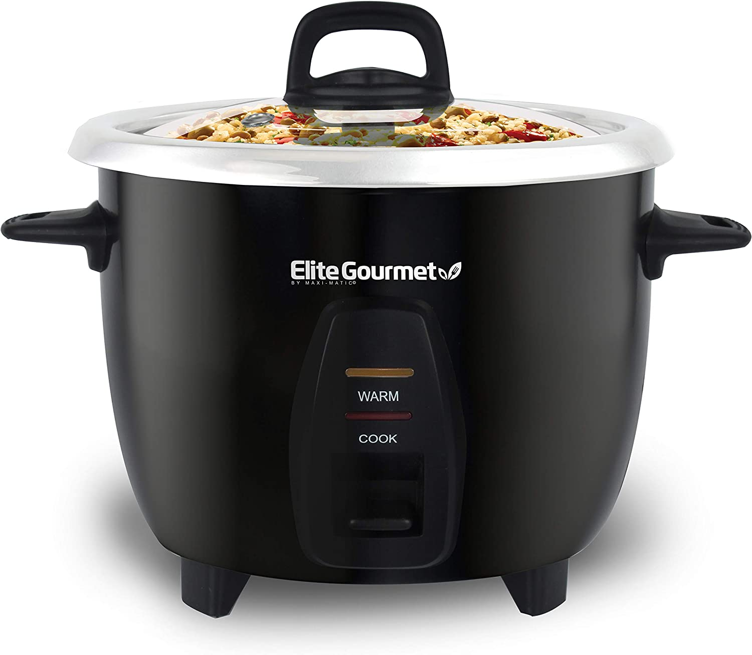 Elite Gourmet Maxi-Matic Electric Rice Cooker with Stainless Steel Inner Pot Makes Soups, Stews, Porridge's, Grains and Cereals, 10 cups cooked (5 Cups uncooked), Black
