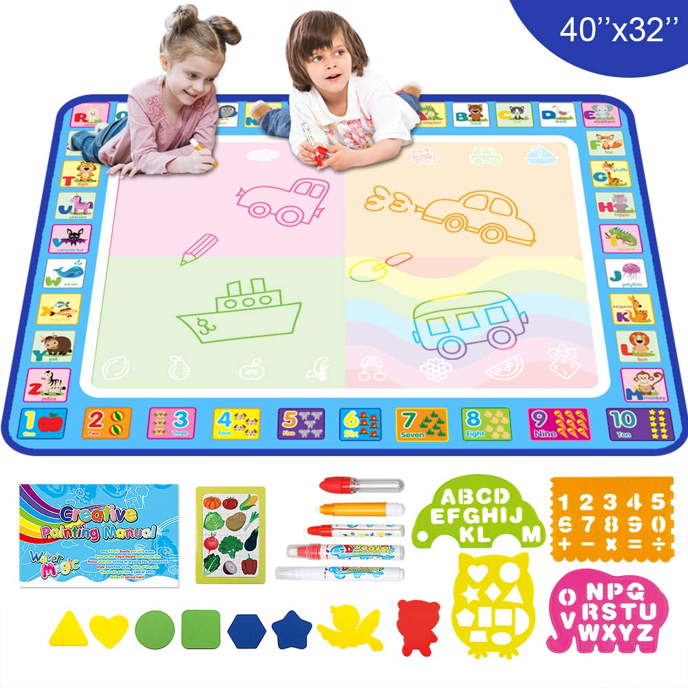 Mess Free Educational Toys Present Xmas Gift for Boy Girl Age 2 3 4 5 6 7 8 Year Old Aqua Magic Doodle Drawing Mat 40x32 Inches Large Water Coloring Writing Painting Mat for Kids Baby Toddler