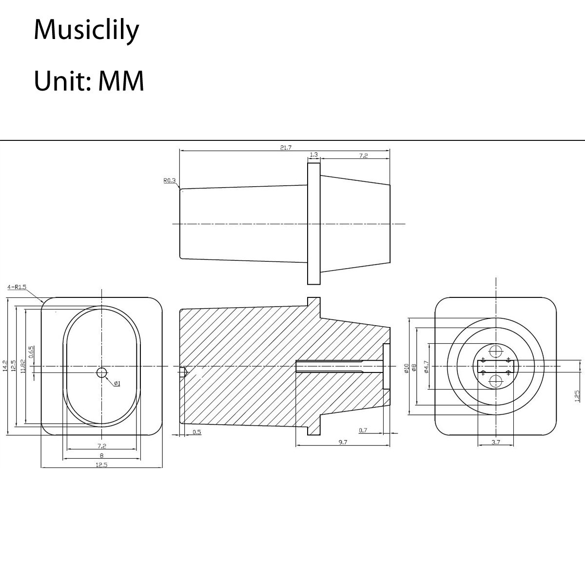 Musiclily Imported Style Metric Plastic Top Hat Cap Switch Tips For Import 3way Diagram Tele 3 Way Pickup Selector