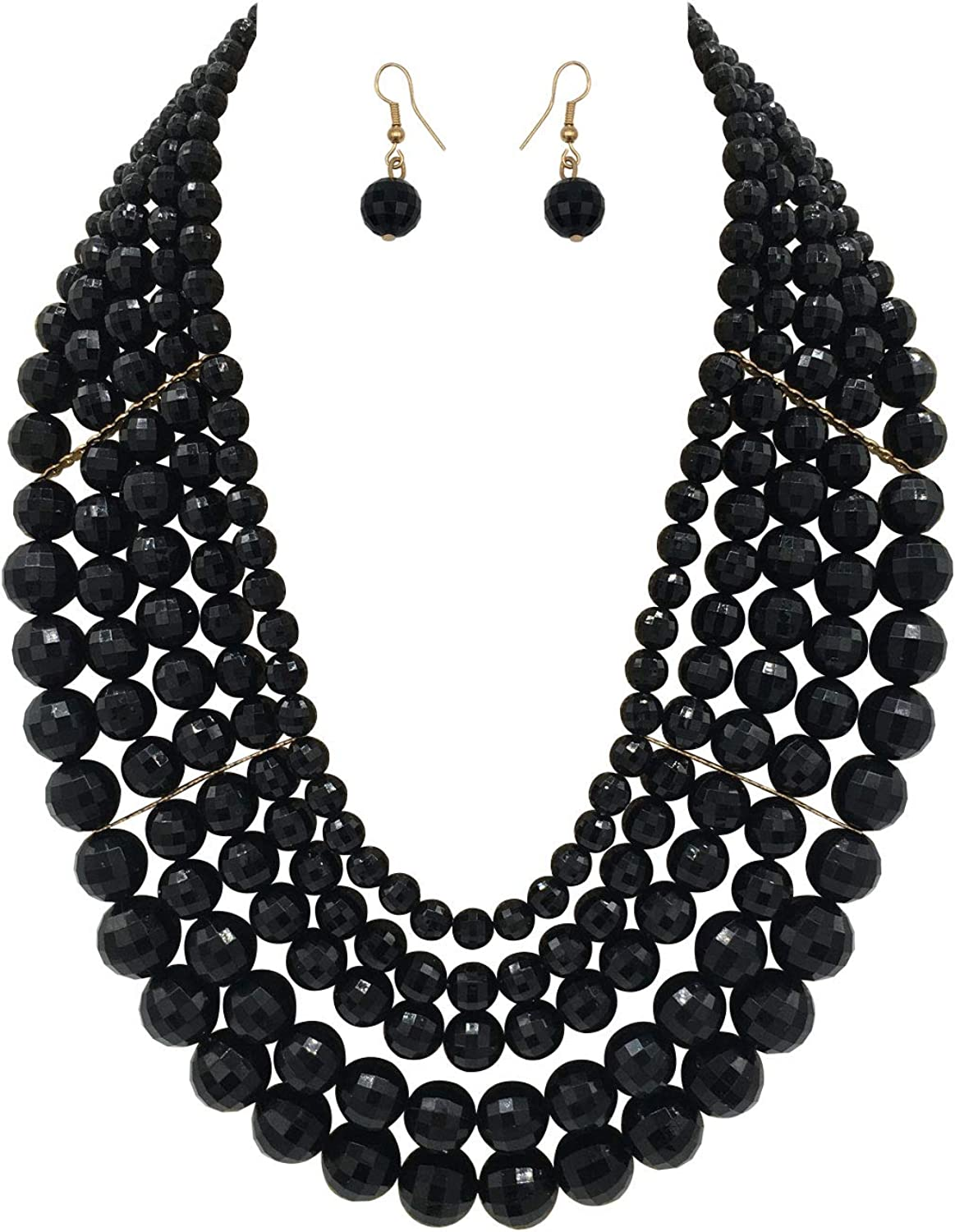 Statement necklace,beaded necklace,black necklace,chunky necklace,seed bead necklace,bridesmaid gifts,multistrand necklace,bridesmaid gifts