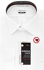Van Heusen Men's MagnaClick Regular Fit Solid Spread Collar Dress Shirt