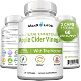 Raw Apple Cider Vinegar Capsules with Mother, 1500mg - Energy Lift, Detox ACV, Probiotics for Women & Men, Weight Loss…