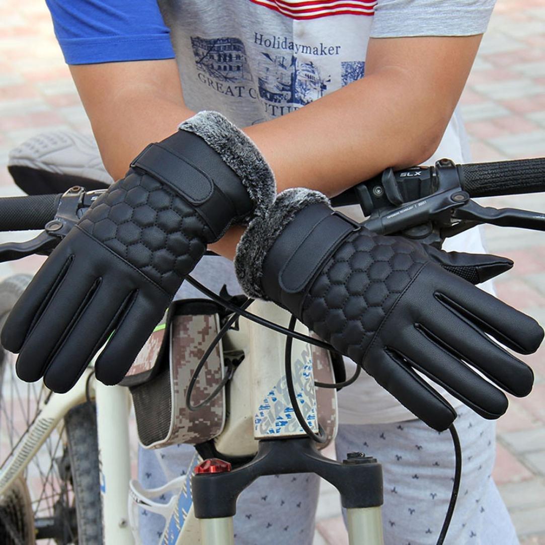 Winter Mens Gloves Black 2, M Bestpriceam Black Winter Leather Motorcycle Full Finger Touch Screen Warm Gloves