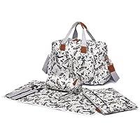 Miss Lulu 4 pcs bird flower pattern Baby Nappy Diaper Changing Bag Set Large Shoulder Handbag Oilcloth Tote (1501-16J Grey)