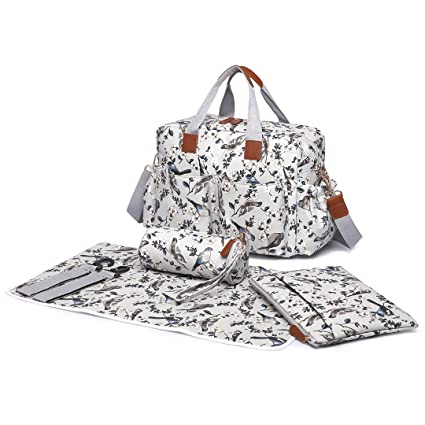 8bda4ba012326 Miss Lulu 4 pcs bird flower pattern Baby Nappy Diaper Changing Bag Set  Large Shoulder Handbag Oilcloth Tote (1501-16J Grey)  Amazon.co.uk  Baby
