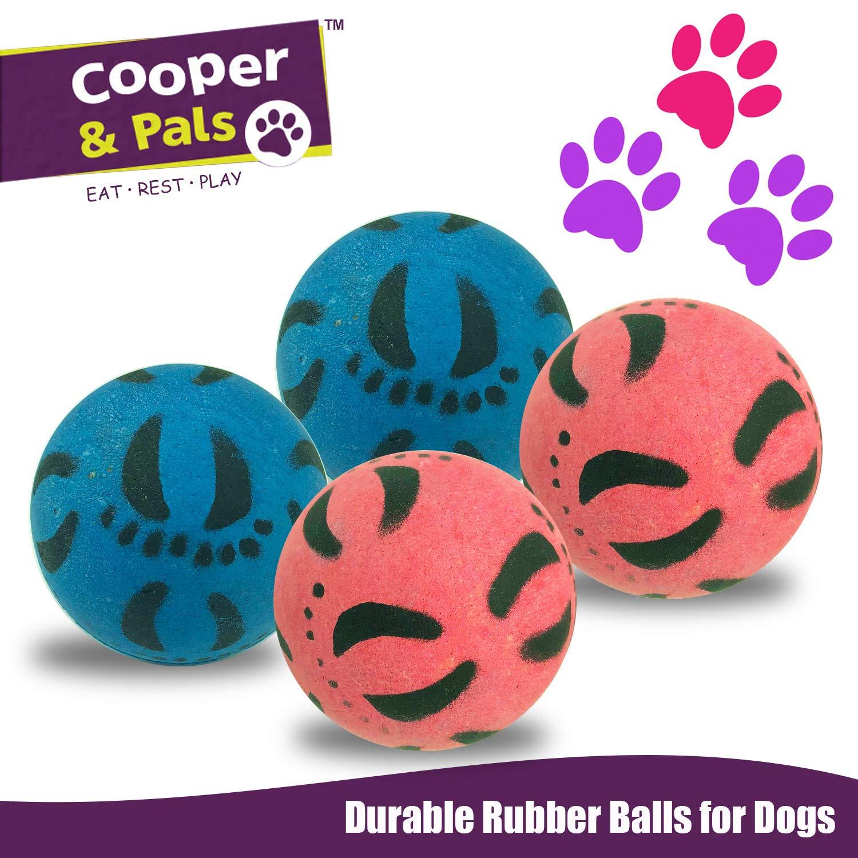 Paquete de 2 Rosado Azul Juguetes Fuertes para Perros Cooper /& Pals Bolas de Goma para Perros