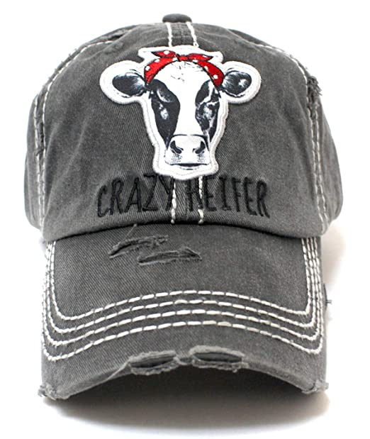54eb1d4851d80c CAPS 'N VINTAGE Women's Baseball Cap Crazy Heifer Cow Patch Embroidery Hat  Charcoal Gray at Amazon Women's Clothing store: