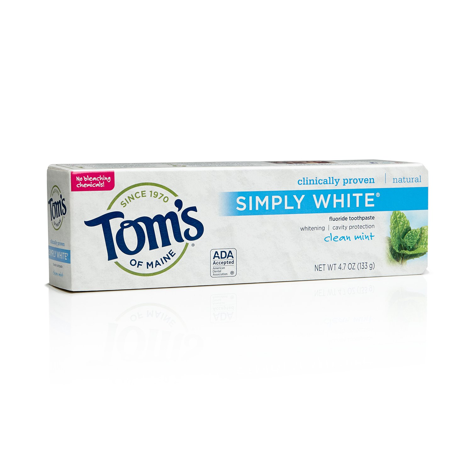 Tom's of Maine 683480 Simply White Natural Toothpaste, Clean Mint, 4.7 Ounce, 24 Count
