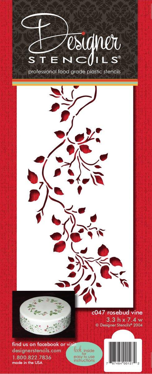 designer stencils C047 Rosebud Vine Cake Stencil