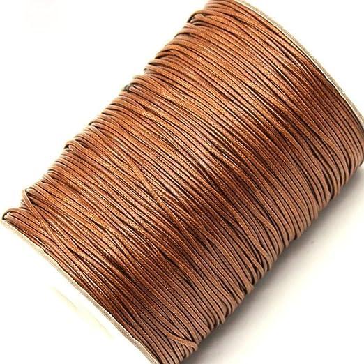 LLAAIT Cordón de algodón Encerado de 1 mm 15 Metros/Lote Cordón de Hilo Encerado Correa de Cuerda Collar Cuerda Fabricación de Joyas DIY, marrón: Amazon.es: Jardín