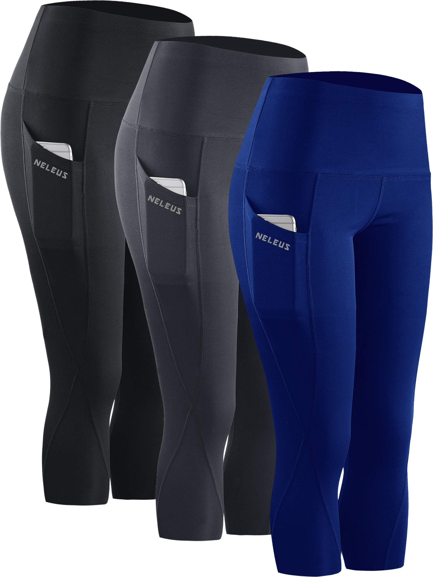 Neleus 3 Pack Workout Running Capris Tummy Control High Waist Yoga Leggings,9027,Black,Grey,Blue,S,EU M