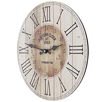 Amazon.de: SIDCO Wanduhr Holz Küchenuhr Western Country Style Deko ...
