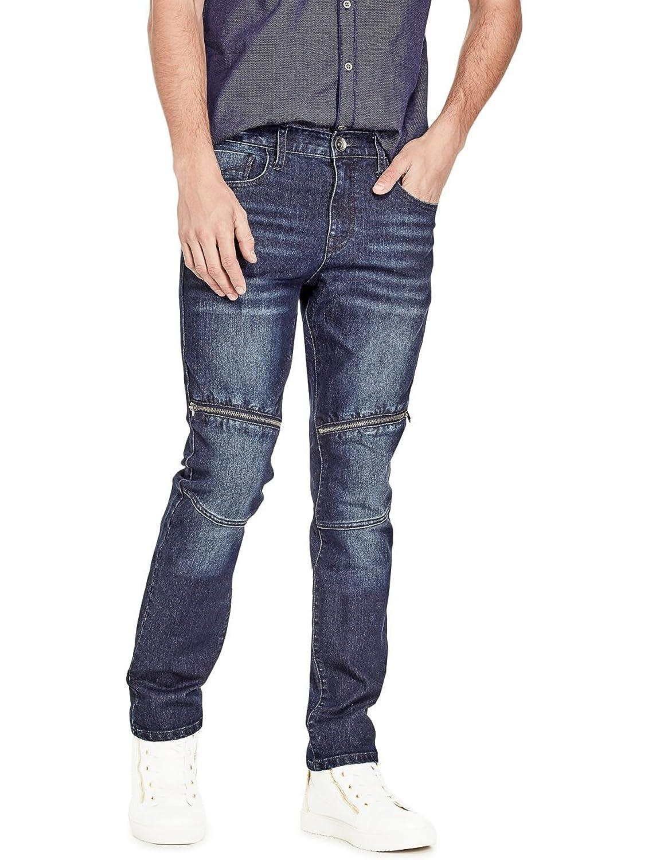 Pivaconis Mens Slim Fit Solid Color Stretch Waist Mid Denim Jeans Pants