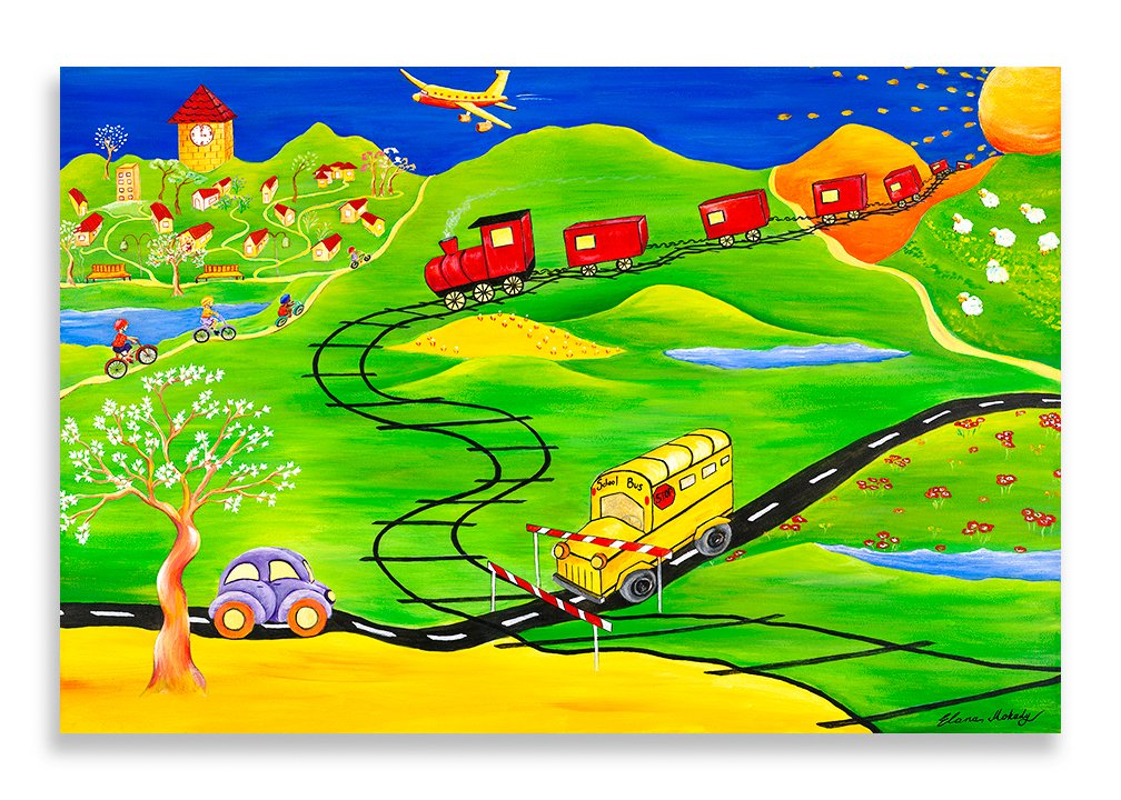 Elana Mokady Art Canvas Wall Art, Every Boy's Dream Kids' Transportation Dream