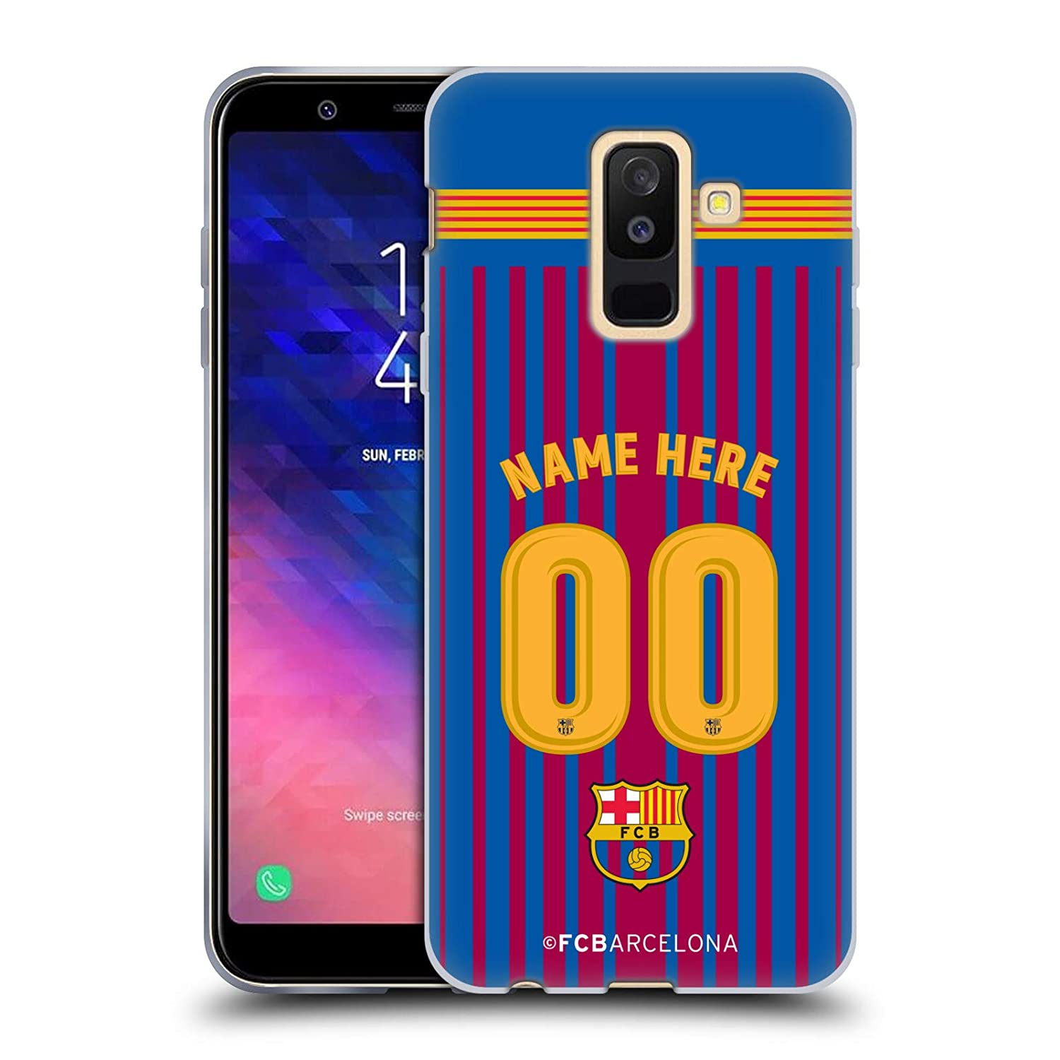 76ccf333e71 Amazon.com  Custom Customized Personalized FC Barcelona Third 2017 18 Kit  Soft Gel Case for Samsung Galaxy A6 Plus (2018)  Cell Phones   Accessories