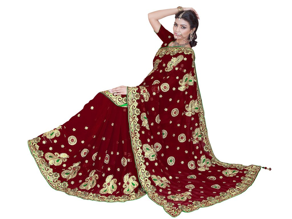 Sourbh Mirchi Fashion Women's Heavy Embroidery Bridal/Wedding Wear Saree (2384_Maroon)