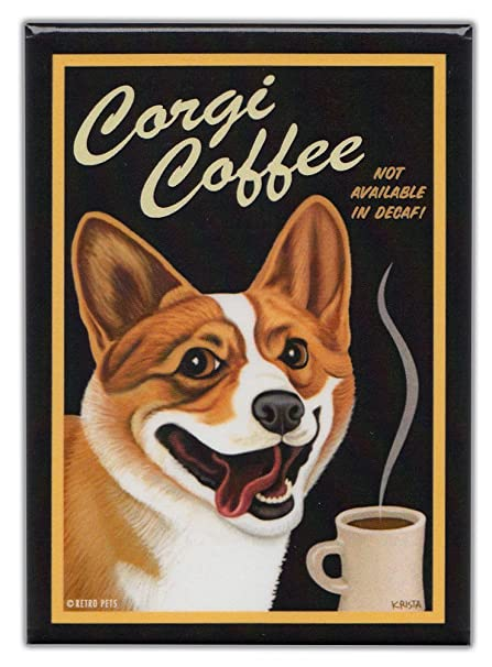 amazon com retro dogs refrigerator magnets corgi coffee