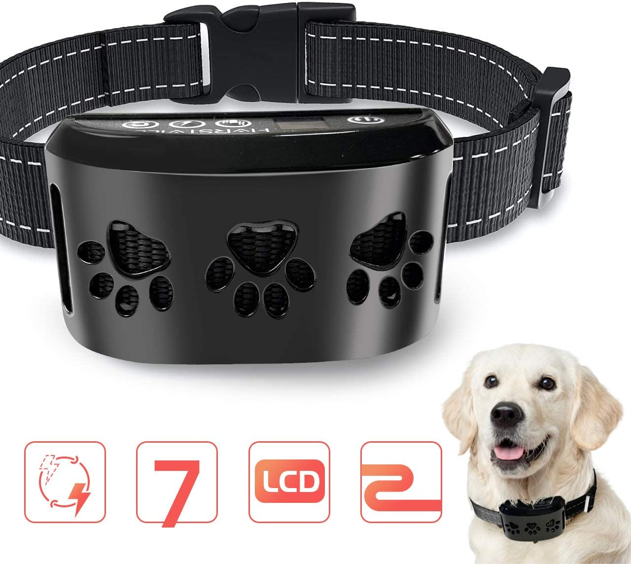 HVRSTVILL Advanced Dog Bark Collar for Small Medium Large Dog with Beep Vibration and Harmless Shock – Rechargeable Anti Bark Training Collar, Safely and Humane Dog Shock Collar, Adjustable Belt