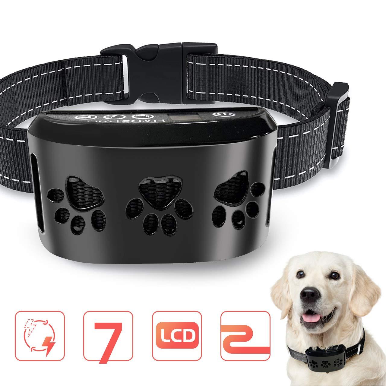 HVRSTVILL Advanced Dog Bark Collar for Small Medium Large Dog with Beep Vibration and Harmless Shock Rechargeable Anti Bark Training Collar Safely and Humane Dog Shock Collar Adjustable Belt
