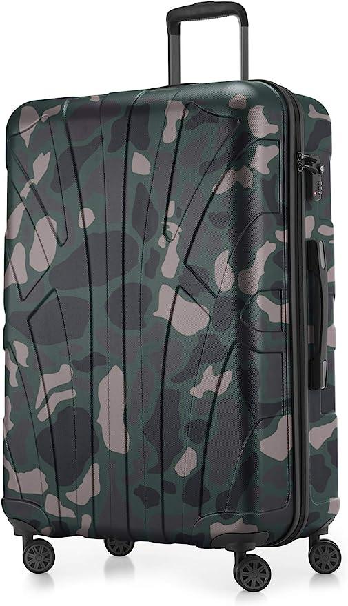 Suitline - Maleta rígida, Equipaje de Viaje, TSA, 76 cm, Aprox. 96 litros, 100% ABS Mate, Camuflaje: Amazon.es: Equipaje