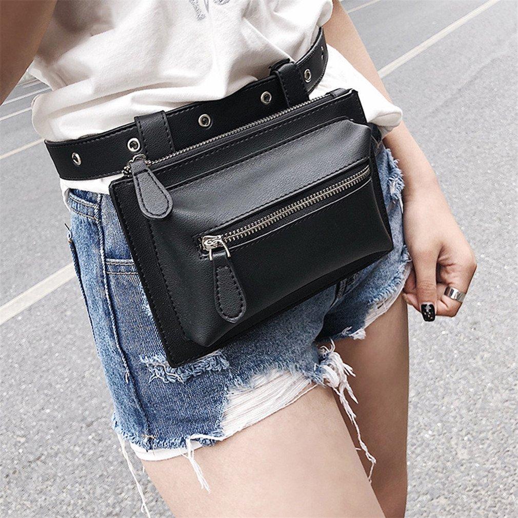 JNHVMC Classic Women Waist Bags Female Belt Pack Vintage Mini Bags Quality Pu Leather Simple Casual Belt Bags