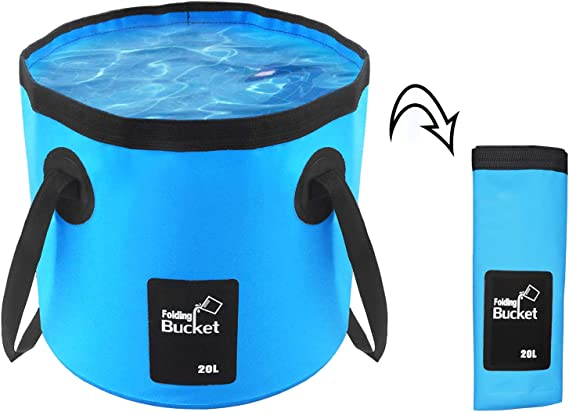 2x 15L Ultra-light Collapsible Camping Wash Basin Bucket Bag Outdoor Hiking