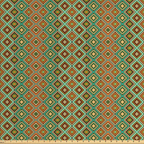 Ambesonne Earth Tones Fabric by the Yard, Traditional Mexican Design with Folkloric Accents Geometric and Retro Styled, Decorative Fabric for Upholstery and Home Accents, Multicolor